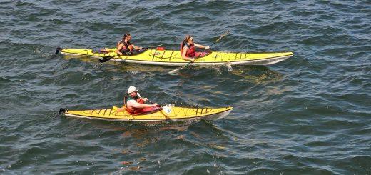 trois kayaks sur l'eau